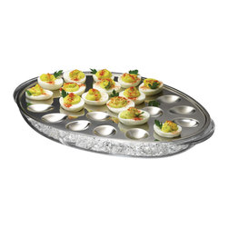 PRODYNE - Iced Eggs Holder - In a pickle about how to keep your eggs cool and fresh? Well, here's an idea that's devilishly clever. The top oval tray is made of high-quality, 18/8 stainless steel and features spots for more than two dozen pickled or deviled eggs. It fits over a clear acrylic ice reservoir sure to make you the coolest thing at your next picnic.