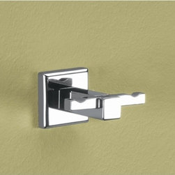 Gedy - Polished Chrome Double Hook - Polished chrome squared double robe, towel, or clothes hook. Modern wall double hook. Made of chromed brass. From the Gedy Colorado collection.