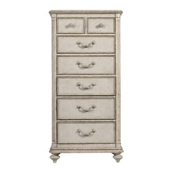Stanley Furniture - Arrondissement Belle Mode Lingerie Chest - Vintage Neutral Finish - A delicate design meant to house your delicates, the Belle Mode Lingerie Chest enchants with its Vintage Neutral finish. Seven drawers provide storage options, while the genuine brass knobs and pulls lend a jewel-like adornment to the chest. Made to order in America.