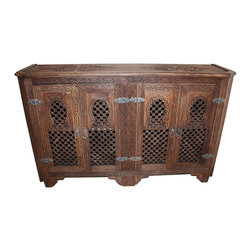 Badia Design Inc. - Moroccan Hand Carved Dark Wood Cabinet - One of a Kind - This is a large beautifully designed one of  kind Dark Wood Moroccan Wooden Cabinet. It has Moucharabieh paneling on the doors, on both the left and right sides and was hand carved by our skilled Moroccan artisans.