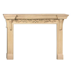 "Inviting Home - Marietta Large Fireplace Mantel - Marietta large fireplace mantel overall - 75""W x 54""H opening - 58""W x 42""H shelf - 85-1/2""W x 12""D Wood fireplace mantels are hand-carved from premium selected hard maple. Fireplace mantels come unfinished finely sanded ready to accept any stain to match you surrounding woodwork. Classic gracious design of the wood fireplace mantels speaks gently of understated elegance and undeniable refinement."