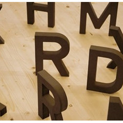 Walls Republic - Type Wallpaper Mural M9023 - Crafted letters scattered over a wood surface give this mural a handcrafted feel. Let these letters inspire your writing. Due to this item being a custom order, it takes longer to ship than our regular products.