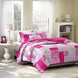 Mi-Zone - Mizone May Pink 4-piece Coverlet Set - This Mi-Zone May coverlet set gives the look of a beautiful pieced quilt without the heavy price tag. This unique design uses plaid,floral,polka dot,paisleys and solid squares all printed on polyester microfiber for easy care.