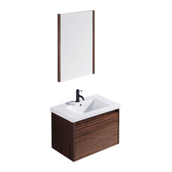 VIGO Industries - VIGO 32 -inch Espresso Petit Single Bathroom Vanity with Mirror - The VIGO Espresso Petit is a wall mounted contemporary vanity set which makes for a classy yet understated look.