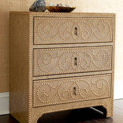 """""""Marrietta"""" Chest - The """"Marrietta"""" Chest is rich in detail and functionality with lots of drawer space for ample storage.    * Hand-painted crackle finish is embellished with gold-tone studs.    * 28.5""""W x 16.25""""D x 32.5""""T."""