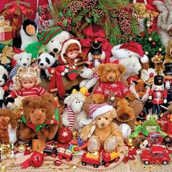 """Holiday Playtime Puzzle - 500 Piece Jigsaw PuzzleBrown bears, teddy bears, panda bears and polar bears fill this Christmas puzzle up with fun, and we've """"bearly"""" begun to describe the fun found in this image! All the classic bells and whistles of a child's Christmas morning dream are nestled together in this playtime scene."""
