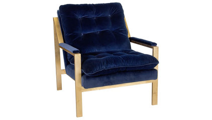 Worlds Away Cameron Gold Leafed Chair Navy Velvet