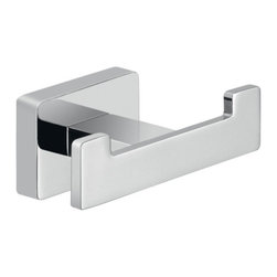 Gedy - Square Chrome Wall Mounted Double Hook - Beautiful square hook for the bathroom is designed to serve a dual purpose. The double hook works great for holding a robe and a towel at the same time! Made of cromall and stainless steel. Designed by Gedy in Italy. Chrome Bathroom Hook. Made by Gedy. Part of the Atena collection. Wall mounted with screws (included).