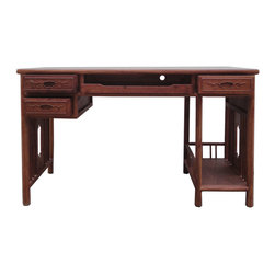 Golden Lotus - Chinese Yellow Rosewood Modern Writing Desk - This is a modern style writing desk with three closed drawers and one center open tray drawer. It has an elegant and oriental simple design. The natural yellowish brown color and wood grain of the wood also creates an uniquness of the table