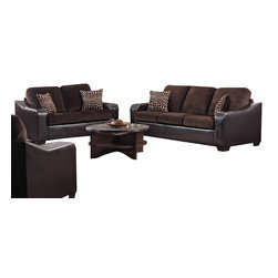 Chelsea Home Furniture - Chelsea Home 2-Piece Living Room Set in Jefferson Chocolate - Kappa sofa in Jefferson Chocolate - Explosion Coffee belongs to the Chelsea Home Furniture collection