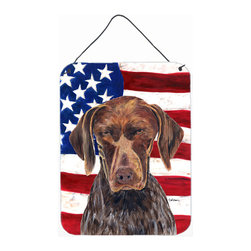 Caroline's Treasures - USA American Flag With German Shorthaired Pointer Aluminium Metal Wall Print - Great for inside or outside these Aluminum prints will add a special touch to your kitchen, bath, front door, outdoor patio or any special place.  12 inches by 16 inches and full of color.  This item will take direct sun for a while before it starts to fade.  Rust and Fade resistant.  Aluminum Print with Hanging Rope.  Rounded Corners.