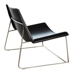 Modloft - Earl Lounge Chair, Black Leather - Earl lounge chair features carbon steel or painted frame with leather seat. Measures 37 x 29 x 30. Available in multiple colors. Made in Brazil. Imported.