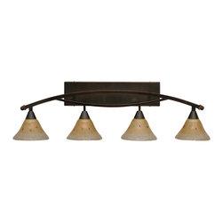 "Toltec - Toltec 174-Bc-750 Bow 4-Light Bath Bar Shown in Black Copper Finish - Toltec 174-BC-750 Bow 4-Light Bath Bar Shown in Black Copper Finish with 7"" Amber Crystal Glass"
