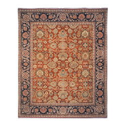 Safavieh - Old World Red/Blue Area Rug OW120A - 8' x 10' - Inspired by 19th Century Agra designs, the Old World Collection is made with a special hand-spun heathered yarn, giving its pile an aged character. These rugs are woven tightly, using small knots. The result is a thick and plush pile that has a natural look and is extremely durable.