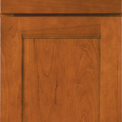 Cherry Door Styles from Wellborn Cabinet, Inc. - Sandia is Wellborn's newest full overlay mission door style with a step rail design and a reverse raised solid wood center panel. Featured in our light stain.