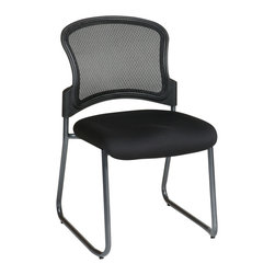 Office Star - Office Star Titanium Finish Black Visitors Chair With ProGrid Back and Sled Base - Titanium Finish Black Visitors Chair with ProGrid Back and Sled Base. Black Fabric Padded Seat with ProGrid Back. Sturdy Titanium Finish Sled Base. What's included: Office Chair (1).
