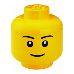LEGO - LEGO Small Storage Head, Bright Yellow Boy - Do home storage the iconic way with our Lego small Storage Head Boy in bright yellow. A glossy plastic storage container for whatever you feel like tidying away - or simply enjoy having this great icon within your room. As it is food safe, can also be used to serve popcorn or snacks at a party.