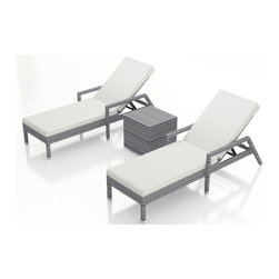 Forever Patio - Urbana 3 Piece Weathered Stone Chaise Lounge Set, Canvas Natural Cushions - The Harmonia Living Urbana 3 Piece Rattan Patio Chaise Lounge Set with White Sunbrella cushions (SKU HL-URBN-WS-3RCLS-CN) brings comfort and style to your outdoor space. Each chaise is constructed with durable, thick-gauged aluminum frames which are protected by a powder coating for superior corrosion resistance. The wicker is made of High-Density Polyethylene (HDPE) with its Weathered Stone color and UV resistance infused into the strands themselves. This creates a rich wicker color that holds up incredibly well with age.Thick, comfy cushions are covered in Canvas Natural fabric by Sunbrella, the industry leader in mildew- and fade-resistant outdoor fabric. This chaise adheres to the highest quality standards for modern patio furniture in the market today, meaning it will last for years to come.