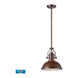 Elk Lighting - EL-66545-1-LED Chadwick LED 1-Light Pendant in Burl Wood and Antique Copper - The Chadwick Collection reflects the beauty of hand-turned craftsmanship inspired by early 20th century lighting and antiques that have surpassed the test of time. This Robust Collection features detailing appropriate for classic or transitional decors. Finishes include polished nickel, satin nickel, antique copper and oiled bronze.�Various diffuser options, including glass, metal, and wood printed metal shades, allow for adaptability to almost any design scheme. - LED offering up to 800 lumens (60 watt equivalent) with full range dimming. Includes an easily replaceable LED bulb (120V).