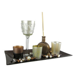 Zeckos - 5 Piece Reed Diffuser Candle Garden Glass Tray - This beautiful 5 piece candle garden is a perfect accent to living rooms, dens, bedrooms and foyers. It features 2 small glass votive candle holders, a frosted glass medium candle holder, a frosted goblet candle holder, a metallic bronze glass diffuser base, reeds, and a 14 inch by 7 inch lipped brown glass tray. All you need is some votive or tea light candles (battery powered tea lights work great), and some scented oil for the diffuser, and you've got a beautiful table or mantel centerpiece. This candle garden makes a great wedding gift or housewarming gift.