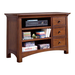 Lea Industries - Lea Elite Crossover Media Cabinet in Burnished Cherry - Welcome to the Lea Elite collection , Crossover. A mixture of American Country, Arts and Crafts, and Shaker styles are blended to create this collection . The finish is a darker, burnished cherry with a lot of hand applied high lighting and accent; adding to the high style rustic and country design. The hardware is an antiqued brass color and adds even more simple to appeal to Crossover. design details such as the tapered posts accentuated with wood plugs add to the hand crafted motif. Crossover is a versatile group that fits children's and teen rooms, condos, and even smaller master bedrooms.