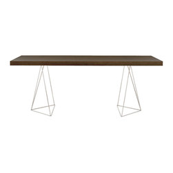 """Temahome - Multi 63"""" Table Top W/ Trestles, Chocolate / Chrome - Multi table truly lives up to its name. Apart from the multiple leg option, Multi also offers multiple finishes, creating many different ways to personalize this piece.  With the storage legs, the user gets extra storage space, since the structure doubles as a shelving unit, while the trestle legs bring a touch of contemporary design. Finally, to achieve the traditional table, there's square legs, a classic that never goes out of style."""