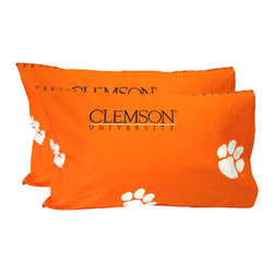 College Covers - NCAA Clemson Tigers Pillowcases Two-Pack Orange Set - Features: