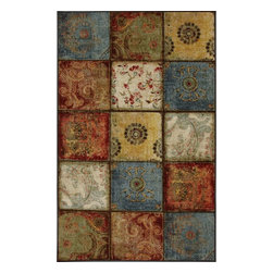 Mohawk Home - Mohawk Free Flow Artifact Panel Multi Transitional Stressed Patchwork 2'6 x 3'10 - Featuring a combination of traditional designs arranged in a contemporary patchwork, this transitional rug creates a look that you are sure to love. This piece will instantly update any room in your home with a blend of traditional and modern influences. The rich rusty color pallete is an excellent paring to the emerging trend of reclaimed and recycled furniture pieces.  Printed on the same machines that manufacture one of the world