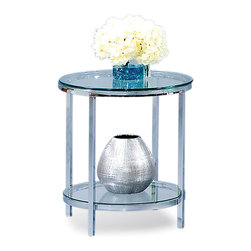 Bassett Mirror - Round End Table w Polished Glass Top in Chrom - This end table captures the beauty and essence of smart, contemporary design. Patinoire collection quality is evident with this model's chrome plated steel frame and glass top. A handy lower shelf gives two-tier capability to its decidedly compact profile. Patinoire Collection. Chrome plated. Polished bull-nose glass tops. Lower shelf for extra storage. 22 in. Dia. x 25 in. H (29 lbs.)