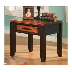 Steve Silver Co. - Abaco End Table w Drawer - 1 drawer for storage. Tapered legs. Multi-step acacia finish. Contemporary style. Corner block construction. Tongue and groove joints. Select hardwood solids material. Some assembly required. 24 in. L x 24 in. W x 24 in. H (49.5 lbs.)