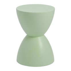 Sallie Stool-Green - You'll immediately notice the hourglass design of this space-saving stool, which also doubles as an ottoman. This classic shape always evokes a refreshing sense of balance. Discreet and distinct, it stands out, yet never overwhelms.
