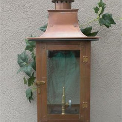 "Regency - Regency Faye Rue Small Model Gaslight GL21 w/ Wall Mount 20"" x 9 1/2"" - The Regency Faye Rue model gas light is one of our most unique designs in the Regency gas light line. Standing at 20"" Tall x 9 1/2"" Wide x 11"" Deep with wall bracket. This is a very universal size light.  These gas lights are all hand-made of copper materials with brass details, meticulously cut and riveted with exacting standards. These lights are also CSA certified for safety and durability. They include solid brass control valves for variable flame settings and years of dependable use and each light includes tempered glass panes. Want to add an automatic ignition module? Add the AIM 20.  Other features include the antique (copper)"
