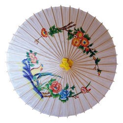 "Oriental-Decor - 46"" Flowers and Birds Paper Umbrella - This amazing 46 inch umbrella features a picture of birds on flower branches. An exquisite work of art, this large umbrella is made from oiled paper and wood. If you want a sight that will impress you beyond words, then one look at this umbrella will do just that. At 46 inches in diameter, this umbrella is an easy and fashionable way to protect yourself from the sun. Feel like a queen as you strut your stuff without a single ray of sunshine falling on your fair complexion. Most nobility in various cultures used umbrellas to protect themselves from the sun. Aside from China, Egypt, Thailand, and even England are known to have historically used umbrellas for their royalty. Nowadays, however, you no longer need a title to own this decorative umbrella. If you're not using it as a shield from the sun, you can play around with it around your home. This 46"" Flowers and Birds umbrella is a versatile piece that you can use to brighten up your interiors. Place it in areas like your porch or gazebo and play up its nature theme, or use it indoors as a little piece of paradise."