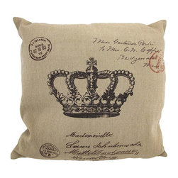 Tan / Brown Canvas French Postcard Crown Print Throw Pillow 16 Inch - This throw pillow is a wonderful accent for anyone who loves all things French! It features a French postcard style royal Crown theme on the front, in brown, against a tan canvas cover. The pillow measures 16 inches by 16 inches, and has a zipper on the back of the cover so you can remove and wash it. The pillow insert is 100% polyester. It looks lovely on beds, chairs, and couches anywhere in your home, and makes a great gift for a friend.