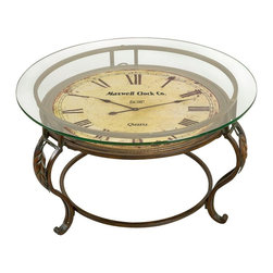 Aspire - Cocktail Table with Clock - This is a very handsome cocktail table with operating clock. Bold roman numerals contrast with the light antique-style face. Sturdy metal legs and glass top. Operates by a highly accurate quartz movement. Metal and Glass. Color/Finish: Reddish-brown. Assembly Required. 17 in. H x 29 in. W x 29 in. D. Weight: 37 lbs.