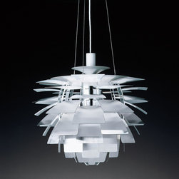 Louis Poulsen PH Artichoke Lamp in White - Louis Poulsen PH Artichoke Lamp in White.  Made by Louis Poulsen Lighting in Denmark.  The PH Artichoke lamp is considered to be a classical masterpiece designed by Poul Henningsen more than 40 years ago. The PH Artichoke is the ultimate style icon.   From Stardust Modern Design.