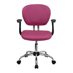 Flash Furniture - Mid-Back Pink Mesh Task Chair with Arms and Chrome Base - This value priced mesh task chair will accommodate your essential needs for your home or office space. This chair will add a splash of color to your office for a non-traditional look. Chair features a breathable mesh material with a comfortably padded seat.