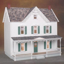 Real Good Toys - Real Good Toys Vermont Farmhouse Dollhouse Kit - 1 Inch Scale - 1401-MM - Shop for Dollhouses and Dollhouse Furnishings from Hayneedle.com! The Real Good Toys Vermont Farmhouse Dollhouse Kit - 1-Inch Scale proudly draws inspiration from our country's rich agricultural history. Picturesque and cozy this 10-room house makes a terrific gathering place for your figurines with an impressive 9.438-inch floor-to-ceiling height. This kit will take approximately 30 hours to assemble and finish. This traditional 3-story farmhouse is available in two different durable construction options. Choose between milled plywood and MDF wall finishes. The charming 30-inch gingerbread porch and other exceptional details reflect the uncompromising craftsmanship that went into the creation of this model adding fanciful form to an already handsome design. It features pre-assembled windows and doors moveable room dividers wooden shingles and sturdy 0.375-inch exterior walls and grooved sidewalls. Recommended supplies include a hammer glue masking tape sandpaper paint brushes ruler and brads. This exquisite kit is suitable for use by collectors. As it includes small pieces it's not recommended for children under the age of 3. About Real Good ToysBased in Barre Vt. Real Good Toys has been hand-crafting miniature homes since 1973. By designing and engineering the world's best and easiest to assemble miniature homes Real Good Toys makes dreams come true. Their commitment to exceptional detail the highest level of quality and ease of assembly make them one of the most recommended names in dollhouses. Real Good dollhouses make priceless gifts to pass on to your children and your children's children for years to come.
