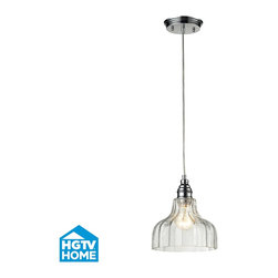 Elk Lighting - Elk Lighting 46018/1 Polished Chrome HGTV Home Danica Single-Light Mini Pendant - This collection offers scalloped glass accentuated with finely crafted stepped details on the metalwork. Choose between mercury glass with metal finished in oiled bronze or clear glass with metal finished in polished chrome.