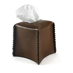 Pfeifer Studio - Leather Tissue Holder - Leather makes a refreshing and unexpected container for storing your tissues. The sleek design is enhanced by the leather seam stitching and really stands out from a crowd of common objects. This is clearly something special for your bathroom or bedroom design.