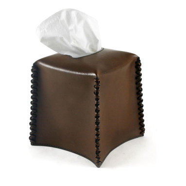 Pfeifer Studio - Leather Tissue Box - Our brown leather tissue box is a wonderful accompaniment to our best selling leather waste bin, which also features hand worked leather lacing at each corner. Our leather accessories are crafted by artisans and have a hand made feel, distinguishing them from mass-produced styles. The leathers are tanned naturally, a process which does not hide the inherent characteristics of the skins, instead enhancing their unique beauty.