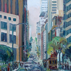 California Street, San Francisco, Original, Painting - I painted this painting on location (plein air) on California Street in Downtown San Francisco. The painting is full of bold, thick, colorful brushstrokes.