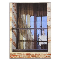 "Krakow Window 1333, Original, Mixed Media - ""digitally manipulated photography, pigment printing on silk, piecing, hand quilting, gallery-wrapped stretched canvas support"""