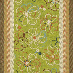 "Loloi Rugs - Loloi Rugs Zamora Collection - Lime, 5'-0"" x 7'-6"" - The Zamora Collection, made in China of 100% polypropylene, combines a hand-hooked field with a hand-braided border, for an overall look that exceeds expectations in an indoor/outdoor product. Cheerful and vibrantly colored, this collection breathesliveliness into an outdoor space."