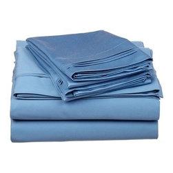 650 TC Egyptian Cotton Split King Medium Blue Solid Sheet Set - 650 Thread Count Egyptian Cotton oversized Split King Medium Blue Solid Sheet Set