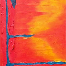 """""""Santa Fe Colores Iii"""" Artwork - Minimalistic oil on canvas with heavily textured zones executed in brilliant contrasting palette."""