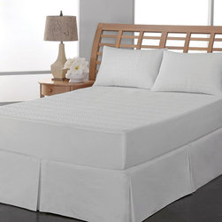 "Frontgate - Allergen/Water Resistant Mattress Pad - Queen - 100% polyester microfiber top and 7½ oz. of polyester fill per square yard for all-night comfort. PVC-free PEVA waterproof laminate provides all-night mattress protection. Repel-and-release stain technology. 100% polyester knit stretch skirt; 15""-deep pockets. Machine-wash; tumble dry low. Protection becomes a beautiful thing with our Allergen & Water-Resistant Mattress Pad. Beneath the hand-stitched leaf pattern, our quilted mattress pad has a layer of protection against stains, dust mites, mold and disease-causing microbes. With a generous stretch skirt, you can rest assured that mattresses up to 18 inches deep will receive full coverage. 100% polyester microfiber top and 7 1/2 oz. of polyester fill per square yard for all-night comfort .  .  . 100% polyester knit stretch skirt; 15'-deep pockets .  ."