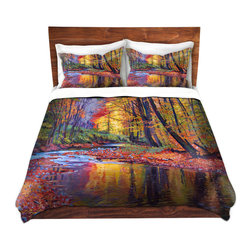 DiaNoche Designs - Duvet Cover Twill by David Lloyd Glover - Autumn Prelude - Lightweight and soft brushed twill Duvet Cover sizes Twin, Queen, King.  SHAMS NOT INCLUDED.  This duvet is designed to wash upon arrival for maximum softness.   Each duvet starts by looming the fabric and cutting to the size ordered.  The Image is printed and your Duvet Cover is meticulously sewn together with ties in each corner and a concealed zip closure.  All in the USA!!  Poly top with a Cotton Poly underside.  Dye Sublimation printing permanently adheres the ink to the material for long life and durability. Printed top, cream colored bottom, Machine Washable, Product may vary slightly from image.