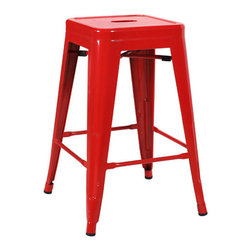 """Vandue - Ajax 24"""" Contemporary Steel Tolix-Style Barstool, Cherry Red - The Ajax stackable retro steel stool is a timeless classic bar stool fit for any kitchen. One of the more traditional designs, the Ajax has a solid steel frame with a variety of finishes for a sleek, stylish look. The Ajax stool is stackable for easy storage and is perfect to use when extra visitors come over and you need more seating other than regular folding chairs. Protective pads beneath the four legs keep your floor in pristine condition, making the Ajax perfect for a modern, rustic or traditional kitchen.    Measures 17"""" wide by 17"""" deep. Overall height is 24"""" for the counter height. We have the best quality barstools of this type. Don't settle for a cheap imitation made of inferior materials. We are so confident in the durability of our products that we offer a 5 year warranty."""