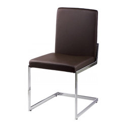 White Line Imports - Contemporary Dining Chair in Brown - Set of 2 - Set of 2. Wipe clean with a dry cloth. Made from leatherette and chrome. Assembly required. 24 in. W x 19 in. D x 34 in. H (54.00 lbs.)